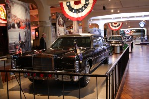 presidential limousines on display in Henry Ford Museum